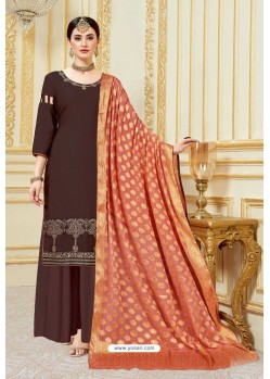 Coffee Designer Party Wear Embroidered Pure Jam Satin Palazzo Salwar Suit