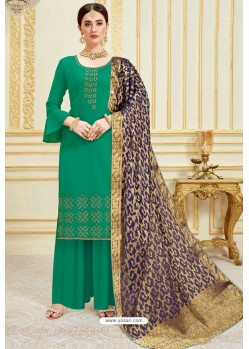 Jade Green Designer Party Wear Embroidered Pure Jam Satin Palazzo Salwar Suit