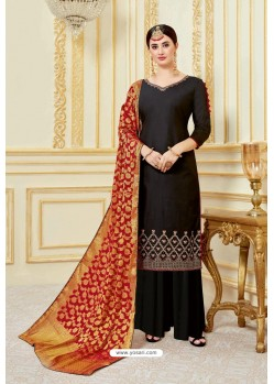 Black Designer Party Wear Embroidered Pure Jam Satin Palazzo Salwar Suit