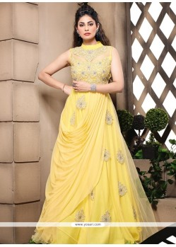 Fab Yellow Embroidery Work Net Gown