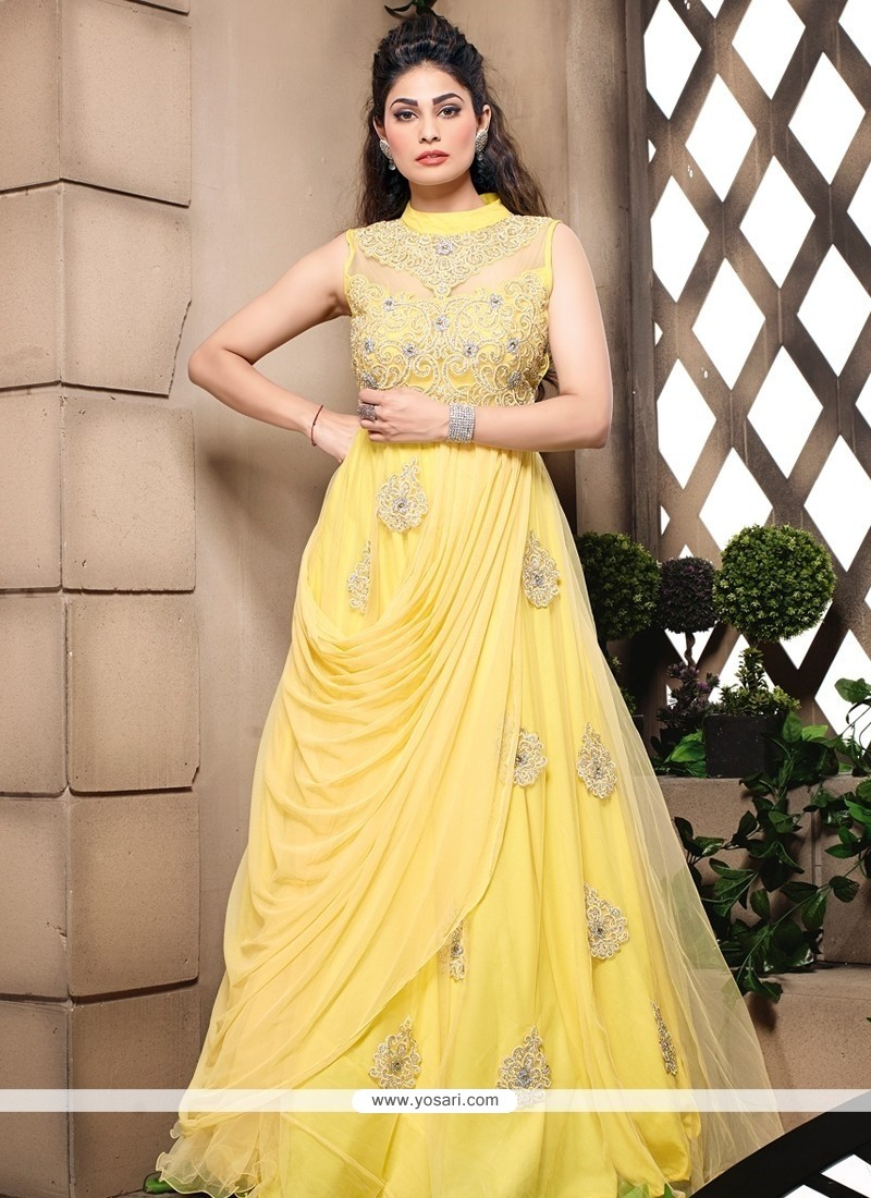 Shop Online Fab Yellow Embroidery Work Net Gown