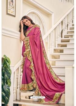 Hot Pink Party Wear Designer Embroidered Soft Silk Sari