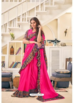 Fuchsia Party Wear Designer Embroidered Soft Silk Sari