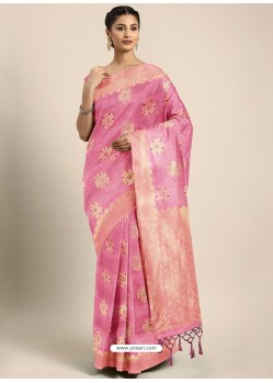 Pink Designer Linen Art Silk Party WearᅠSari