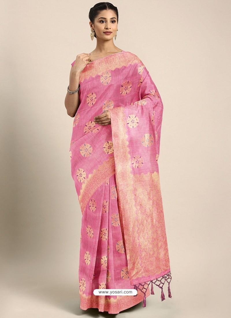 Pink Designer Linen Art Silk Party WearᅠSari