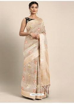 Light Beige Designer Linen Art Silk Party WearᅠSari