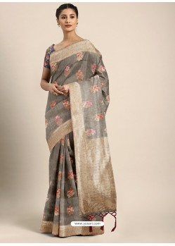 Grey Designer Linen Art Silk Party WearᅠSari