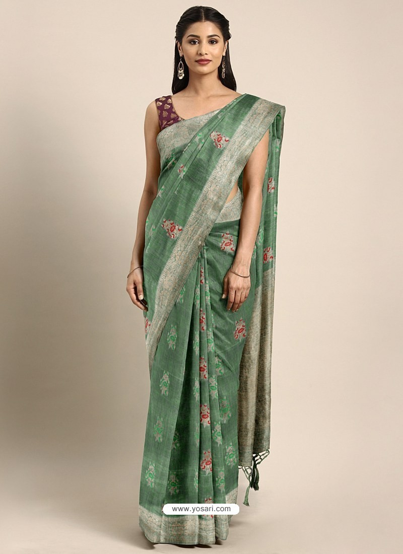 Sea Green Designer Linen Art Silk Party WearᅠSari