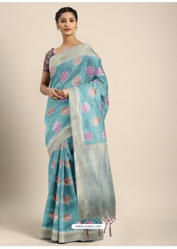 Sky Blue Designer Linen Art Silk Party WearᅠSari