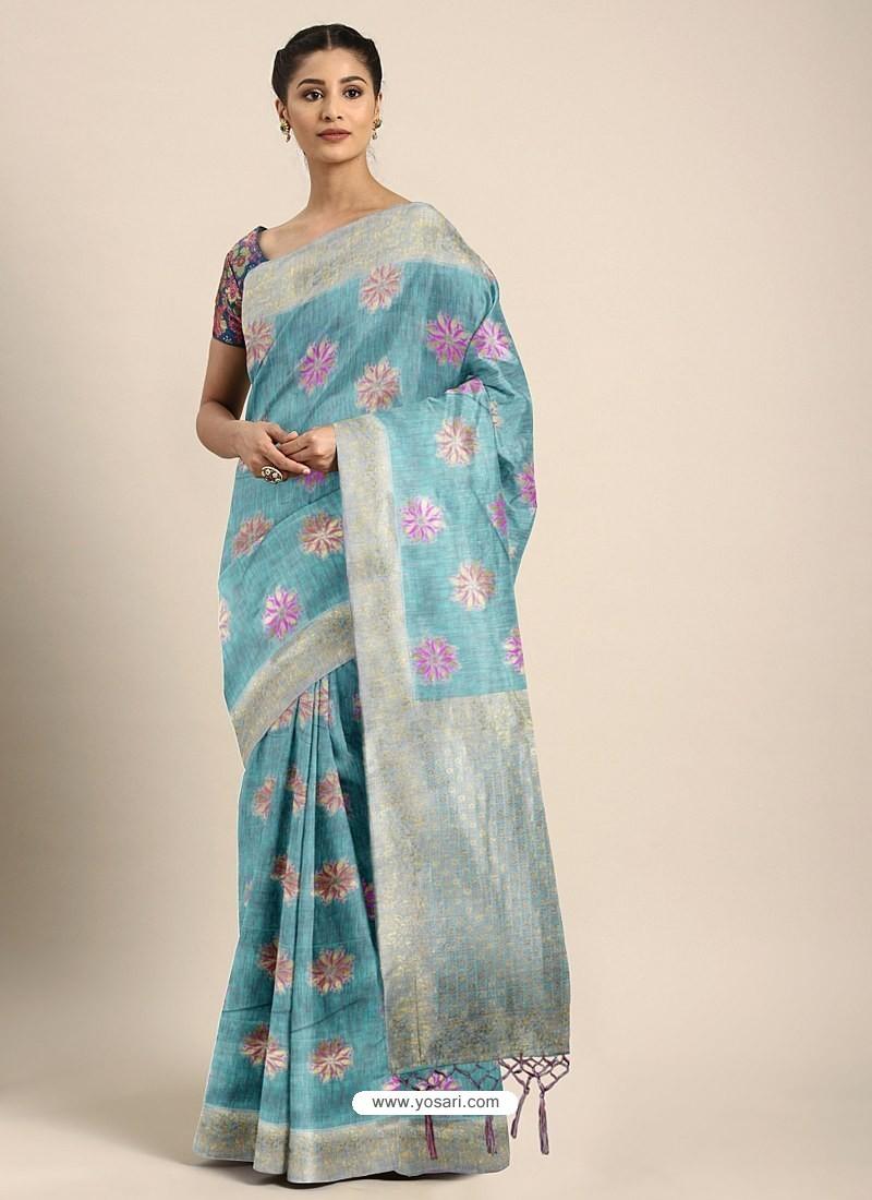 Sky Blue Designer Linen Art Silk Party WearᅠSari