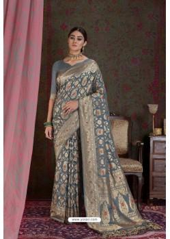 Grey Party Wear Designer Embroidered Fancy Silk Sari