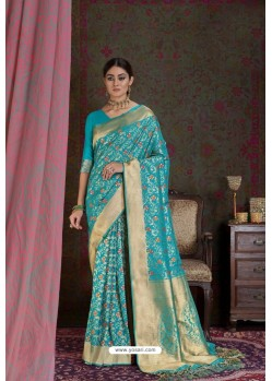 Turquoise Party Wear Designer Embroidered Fancy Silk Sari