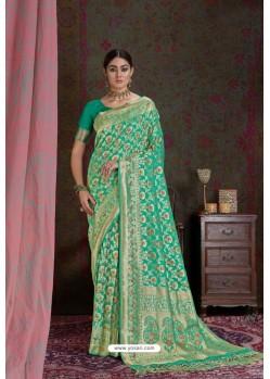 Jade Green Party Wear Designer Embroidered Fancy Silk Sari