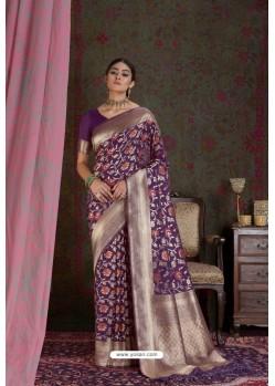 Purple Party Wear Designer Embroidered Fancy Silk Sari