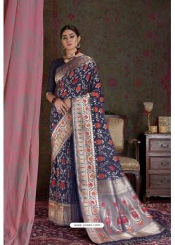 Navy Blue Party Wear Designer Embroidered Fancy Silk Sari