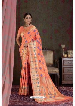 Orange Party Wear Designer Embroidered Fancy Silk Sari