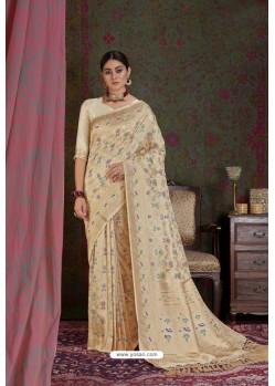 Light Beige Party Wear Designer Embroidered Fancy Silk Sari