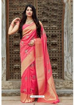 Peach Party Wear Designer Embroidered Sari