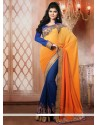 Blue And Orange Shaded Semi Georgette Designer Saree