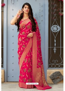 Rani Party Wear Designer Embroidered Sari