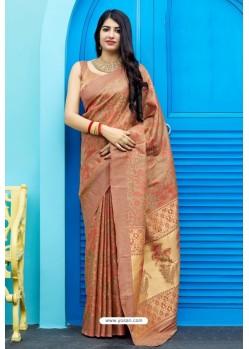 Rust Party Wear Designer Embroidered Sari