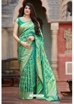 Jade Green Party Wear Designer Embroidered Sari