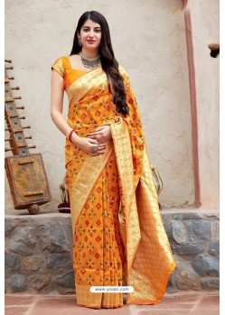Yellow Party Wear Designer Embroidered Sari