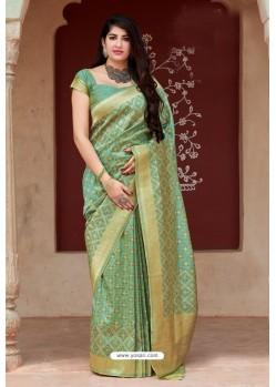 Aqua Mint Party Wear Designer Embroidered Sari