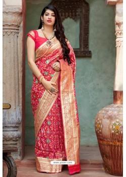 Dark Peach Party Wear Designer Embroidered Sari
