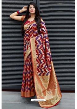 Maroon Party Wear Designer Embroidered Sari
