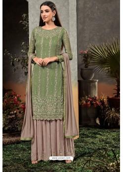 Green Heavy Embroidered Designer Party Wear Georgette Straight Salwar Suit