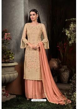 Light Beige Heavy Embroidered Designer Party Wear Georgette Straight Salwar Suit