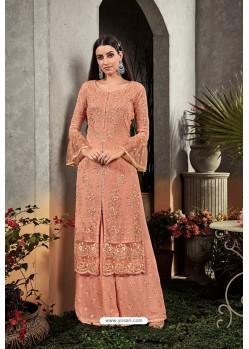 Light Orange Heavy Embroidered Designer Party Wear Georgette Straight Salwar Suit