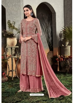 Old Rose Heavy Embroidered Designer Party Wear Georgette Straight Salwar Suit