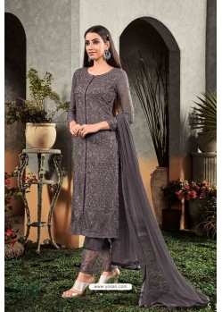 Grey Heavy Embroidered Designer Party Wear Georgette Straight Salwar Suit