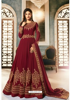 Maroon Heavy Embroidered Designer Party Wear Pure Georgette Anarkali Suit