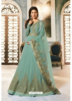 Aqua Grey Heavy Embroidered Designer Party Wear Pure Georgette Anarkali Suit