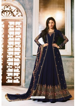 Navy Blue Heavy Embroidered Designer Party Wear Pure Georgette Anarkali Suit