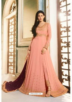 Light Orange Heavy Embroidered Designer Party Wear Pure Georgette Anarkali Suit