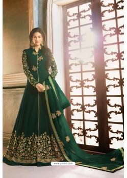 Dark Green Heavy Embroidered Designer Party Wear Pure Georgette Anarkali Suit