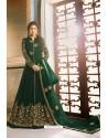 Dark Green Heavy Embroidered Designer Party Wear Pure Georgette Anarkali Suit