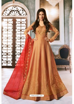 Rust Heavy Embroidered Designer Party Wear Pure Georgette Anarkali Suit