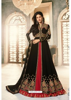 Black Heavy Embroidered Designer Party Wear Pure Georgette Anarkali Suit