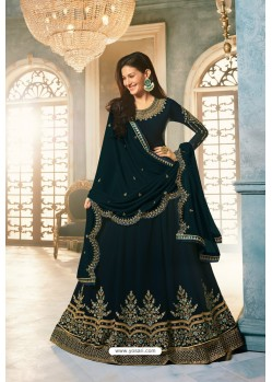 Peacock Blue Heavy Embroidered Designer Party Wear Pure Georgette Anarkali Suit