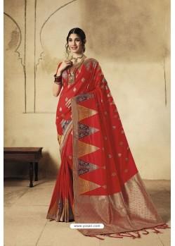 Red Party Wear Designer Banarasi Silk Embroidered Sari