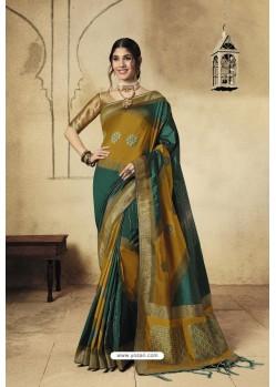 Multi Colour Party Wear Designer Banarasi Silk Embroidered Sari