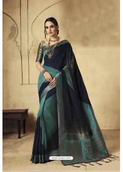 Navy Blue Party Wear Designer Banarasi Silk Embroidered Sari