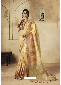 Cream Party Wear Designer Banarasi Silk Embroidered Sari