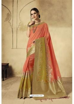 Light Orange Party Wear Designer Banarasi Silk Embroidered Sari