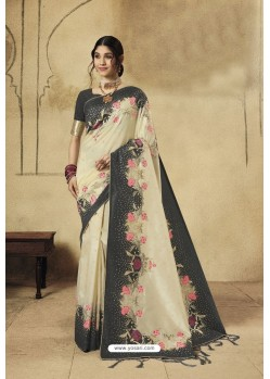 Light Beige Party Wear Designer Banarasi Silk Embroidered Sari
